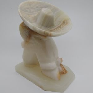Vintage Alabaster Marble Stone Carved Mexican Man